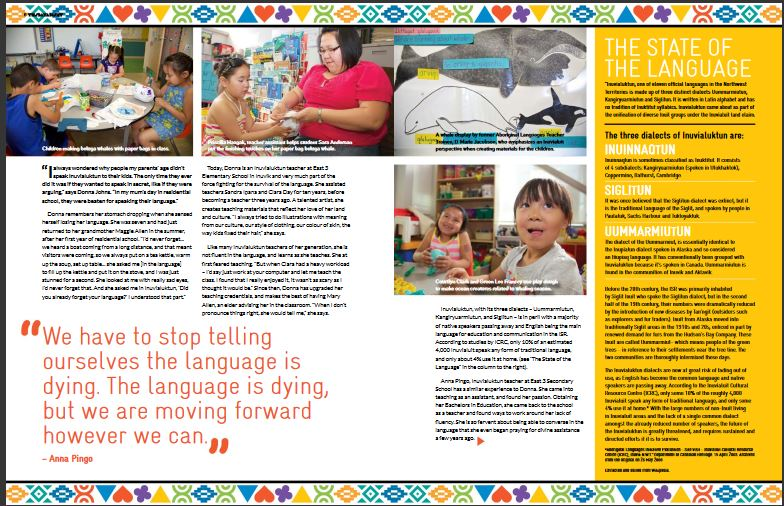 Tusaayaskat magazine article about Inuvialultun language learning